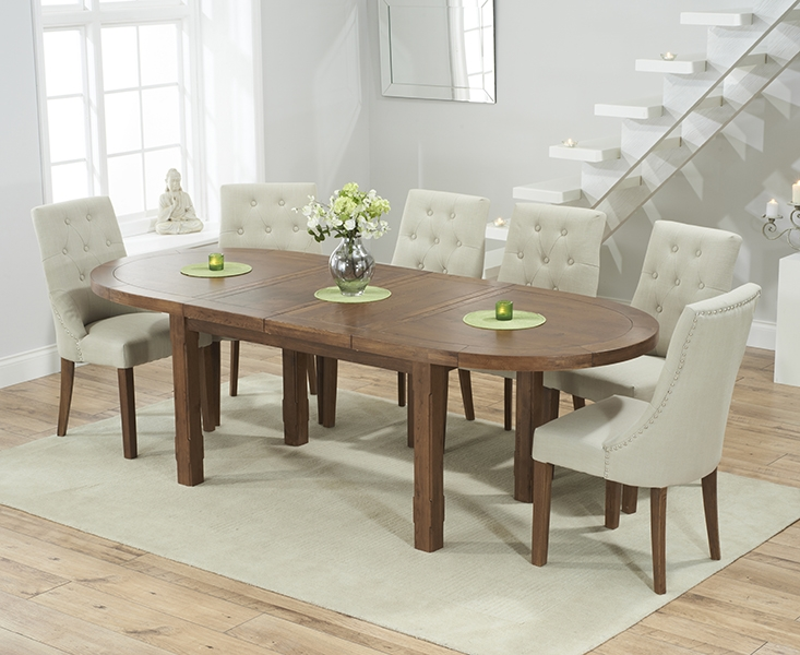 Mark Harris Cheyenne Solid Dark Oak Oval Extending Dining Table with 6 Pailin Beige Chairs