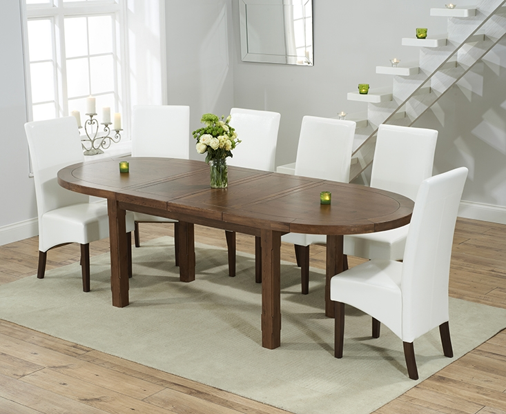 Mark Harris Cheyenne Solid Dark Oak Oval Extending Dining Table with 6 WNG Ivory Chairs