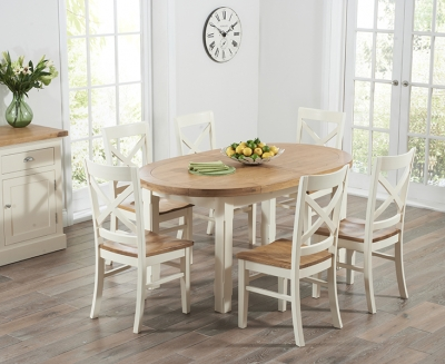 Mark Harris Cheyenne Oak and Cream Oval Extending Dining Set with 6 Cavanaugh Dining Chairs