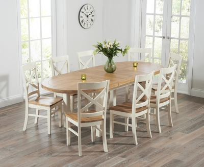 Mark Harris Cheyenne Oak and Cream Oval Extending Dining Table with 8 Cavanaugh Chairs