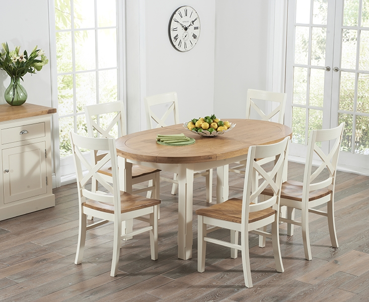 Mark Harris Cheyenne Oak And Cream Dining Table   Oval Extending With 4  Cavanaugh Chairs