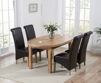 Mark Harris Cheyenne Solid Oak Oval Extending Dining Set with 4 Barcelona Brown Bycast Leather Dining Chairs