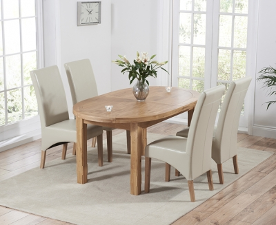 Mark Harris Cheyenne Solid Oak Oval Extending Dining Set with 4 Roma Cream Bycast Leather Dining Chairs