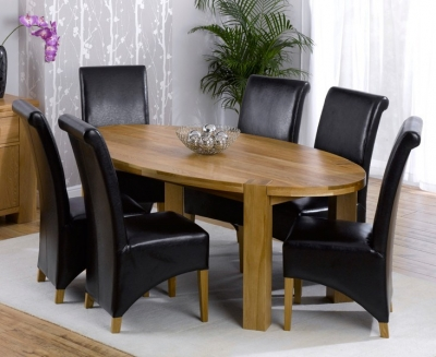 Mark Harris Cheyenne Solid Oak Oval Extending Dining Set with 6 Barcelona Brown Bycast Leather Dining Chairs