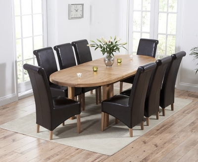 Mark Harris Cheyenne Solid Oak Oval Extending Dining Set with 8 Barcelona Brown Bycast Leather Dining Chairs