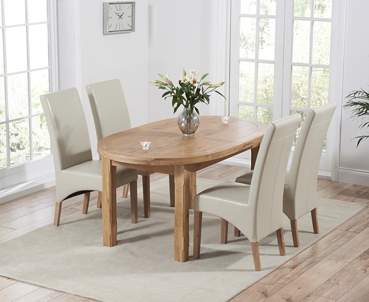 Mark Harris Cheyenne Oak Oval Extending Dining Table and 4 Roma Cream Bycast Leather Chairs