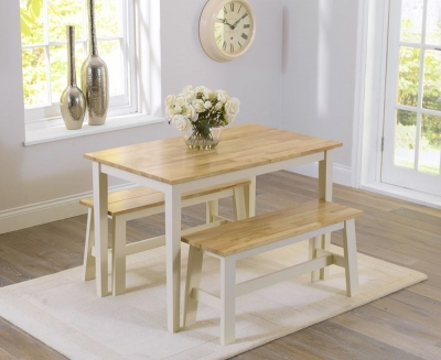 Mark Harris Chichester Oak and Cream Dining Table and 2 Benches