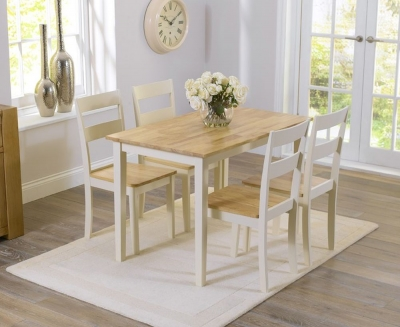 Mark Harris Chichester Oak and Cream Dining Table and 4 Chairs