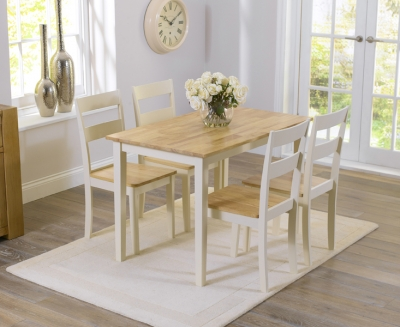 Mark Harris Chichester Oak and Cream 115cm Dining Set with 4 Dining Chairs