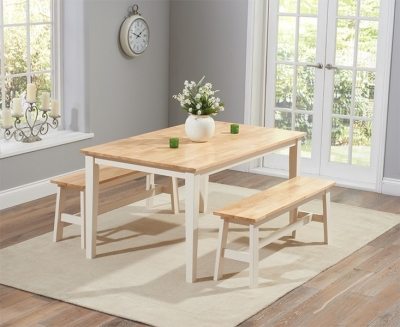 Mark Harris Chichester Oak and Cream 150cm Dining Set with 2 Benches