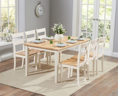 Mark Harris Chichester Oak and Cream 150cm Dining Set with 6 Dining Chairs