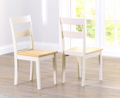 Mark Harris Chichester Oak and Cream Dining Chairs (Pair)