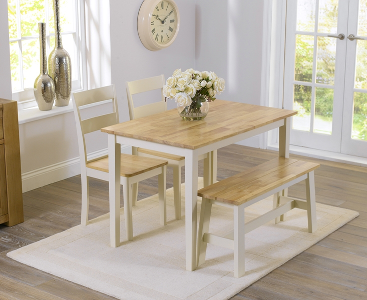 Mark Harris Chichester Oak and Cream 115cm Dining Set with 2 Dining Chairs and Bench