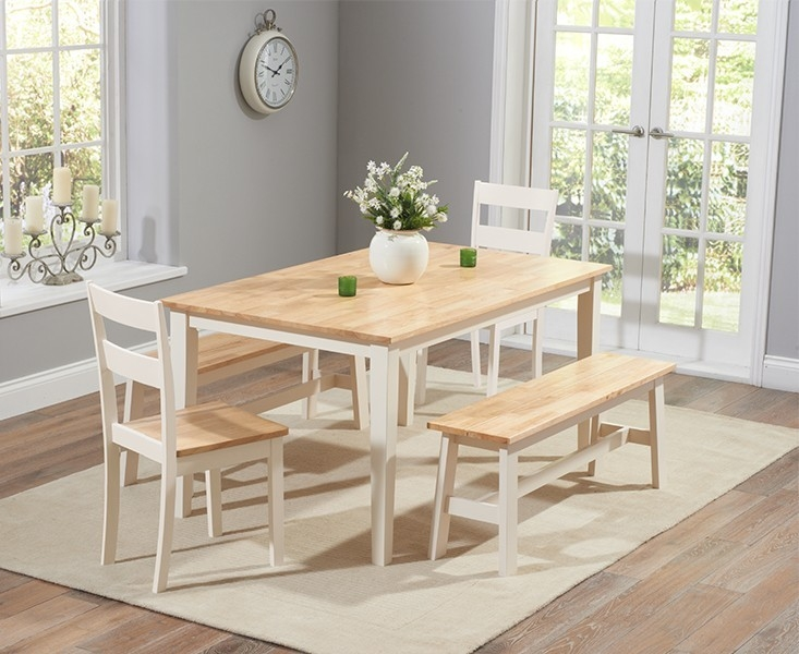 Mark Harris Chichester Oak and Cream 150cm Rectangular Dining Set with 4 Chairs and 1 Large Bench