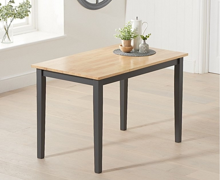 Mark Harris Chichester Solid Oak Hardwood and Dark Grey Painted 115cm Rectangular Dining Table