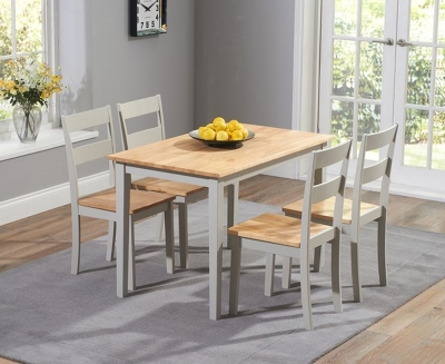 Mark Harris Chichester Oak and Grey Dining Table and 4 Chairs
