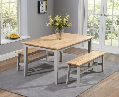 Mark Harris Chichester Oak and Grey Large Dining Table and 2 Benches