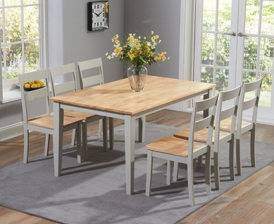 Mark Harris Chichester Large Dining Table and 6 Chairs - Oak and Grey