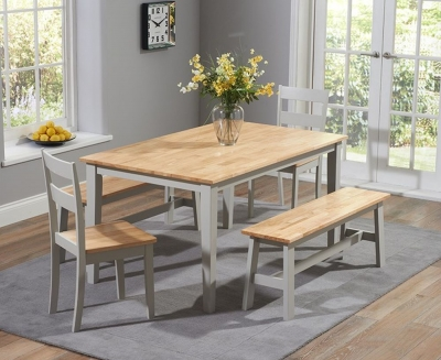 Mark Harris Chichester Large Dining Table with 2 Chairs and 2 Benches - Oak and Grey