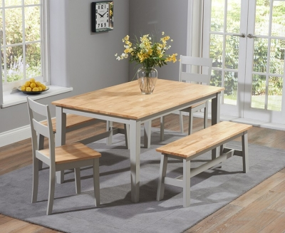 Mark Harris Chichester Large Dining Table with 4 Chairs and Bench - Oak and Grey