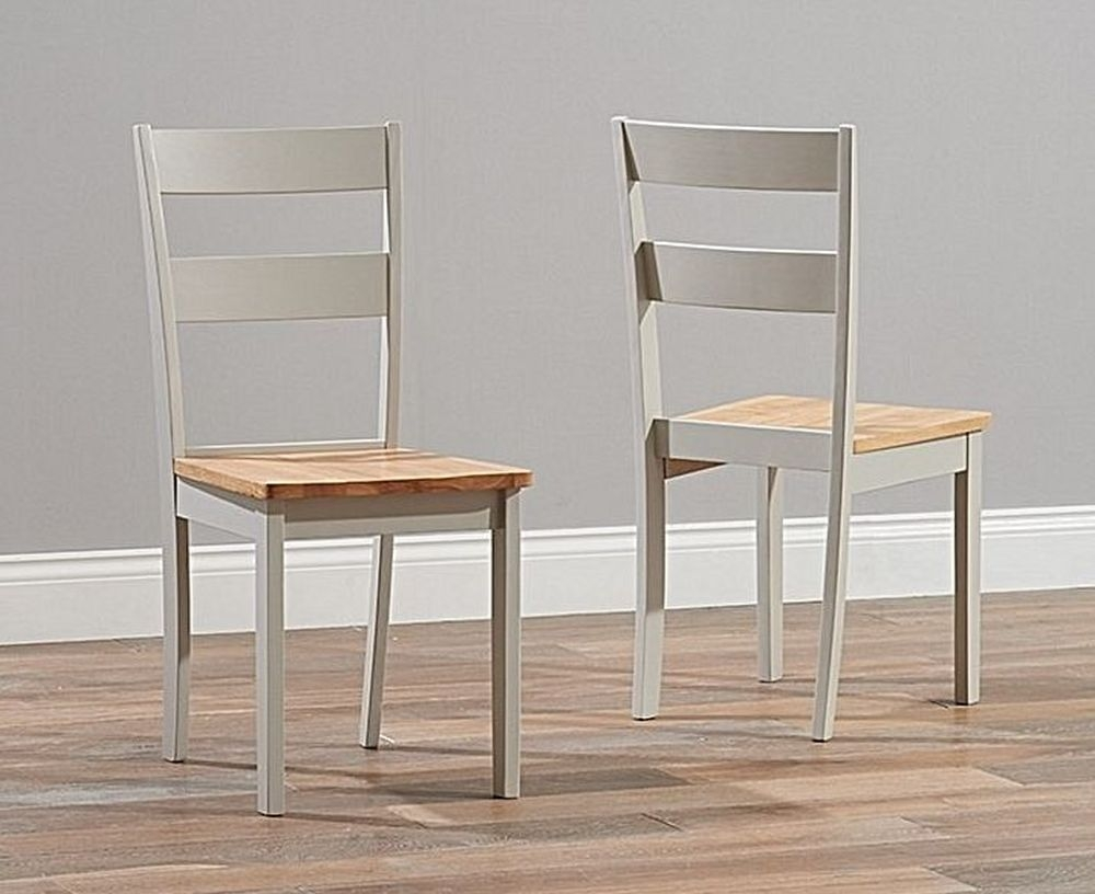 Mark Harris Chichester Dining Chair (Pair) - Light Oak and Grey