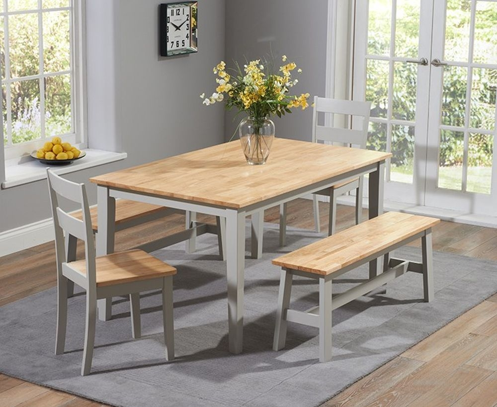 Mark Harris Chichester Oak And Grey Large Dining Table With 2 Chairs And 2 Benches Cfs Furniture Uk
