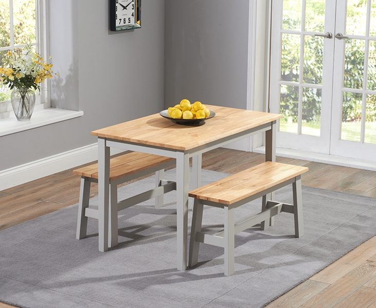 Mark Harris Chichester Dining Table and 2 Benches - Oak and Grey
