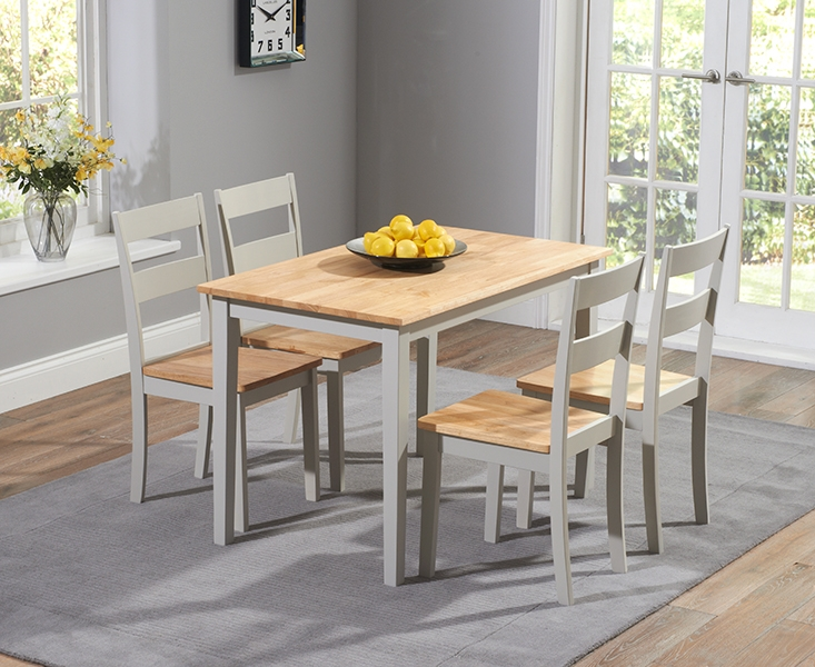 Mark Harris Chichester Oak and Grey 115cm Dining Set with 4 Dining Chairs