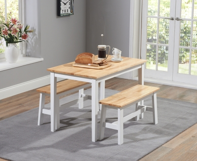 Mark Harris Chichester Oak and White 115cm Dining Set with 2 Benches