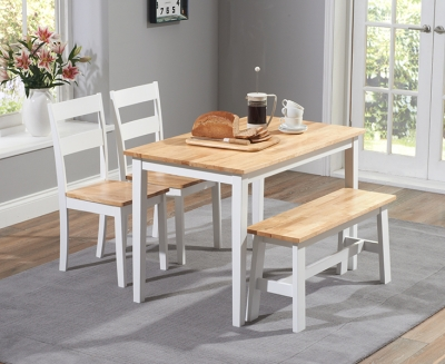 Mark Harris Chichester Oak and White 115cm Dining Set with 2 Chairs and Bench