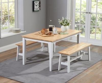 Mark Harris Chichester Oak and White 150cm Dining Set with 2 Benches