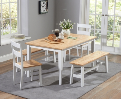 Mark Harris Chichester Oak and White 150cm Dining Set with 2 Chairs and 2 Benches