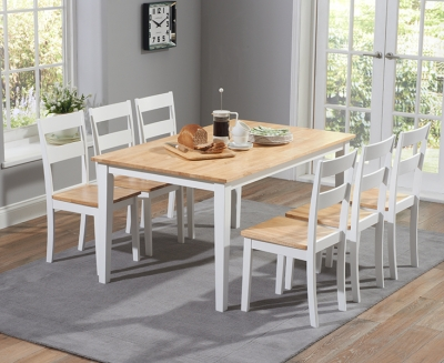 Mark Harris Chichester Oak and White 150cm Dining Set with 6 Dining Chairs