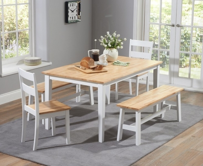 Mark Harris Chichester Oak and White Large Dining Table with 4 Chairs and Bench