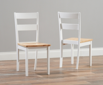 Mark Harris Chichester Oak and White Dining Chairs (Pair)