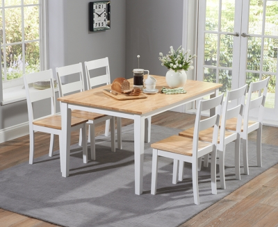 Mark Harris Chichester Oak and White Large Dining Table and Chairs
