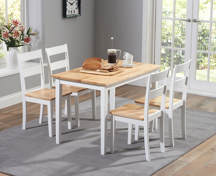 Mark Harris Chichester Oak and White 115cm Dining Set with 4 Dining Chairs