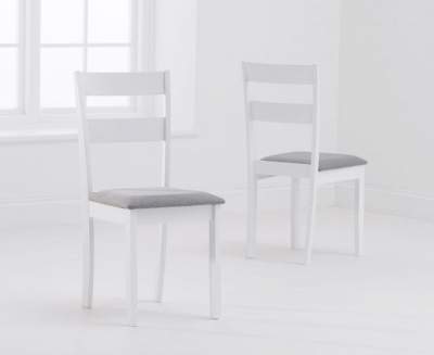 Mark Harris Chichester White Padded Dining Chair (Pair)