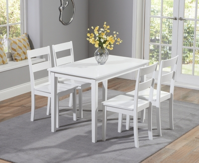 Mark Harris Chichester White 115cm Dining Set with 4 Dning Chairs