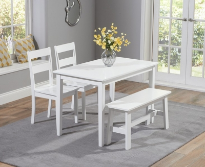 Mark Harris Chichester White Dining Table with 2 Chairs and Bench