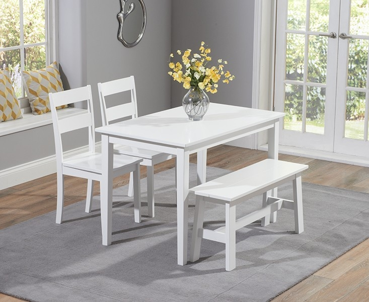 Mark Harris Chichester White Dining Table With 2 Chairs And Bench Cfs Furniture Uk