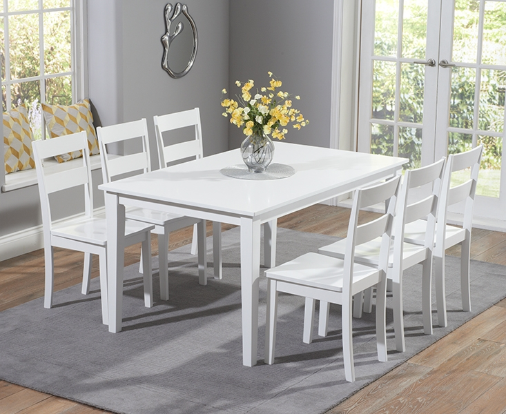 Mark Harris Chichester White Dining Set - 150cm Rectangular with 4 Dining Chairs