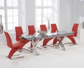 Mark Harris Cilento 160cm Glass Extending Dining Table with 6 Hereford Z Red Chairs