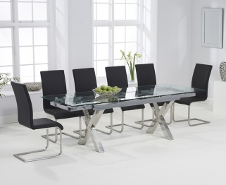Mark Harris Cilento 160cm Glass Extending Dining Table with 6 Malibu Black Chairs