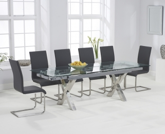 Mark Harris Cilento 160cm Glass Extending Dining Table with 6 Malibu Grey Chairs