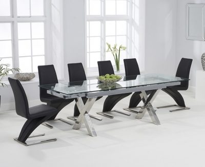 Mark Harris Cilento Glass Extending Dining Table and 6 Hereford Z Chairs - Chrome and Black