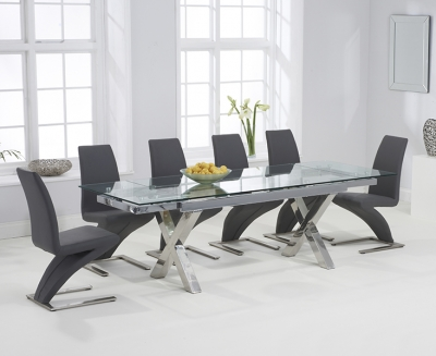 Mark Harris Cilento Glass Extending Dining Table and 6 Hereford Z Chairs - Chrome and Grey