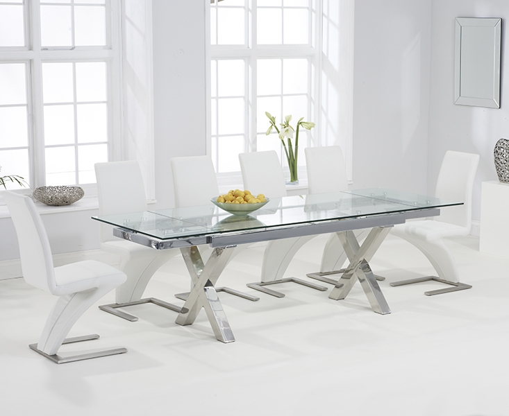 Mark Harris Cilento 160cm Glass Extending Dining Table with 6 Hereford Z White Chairs