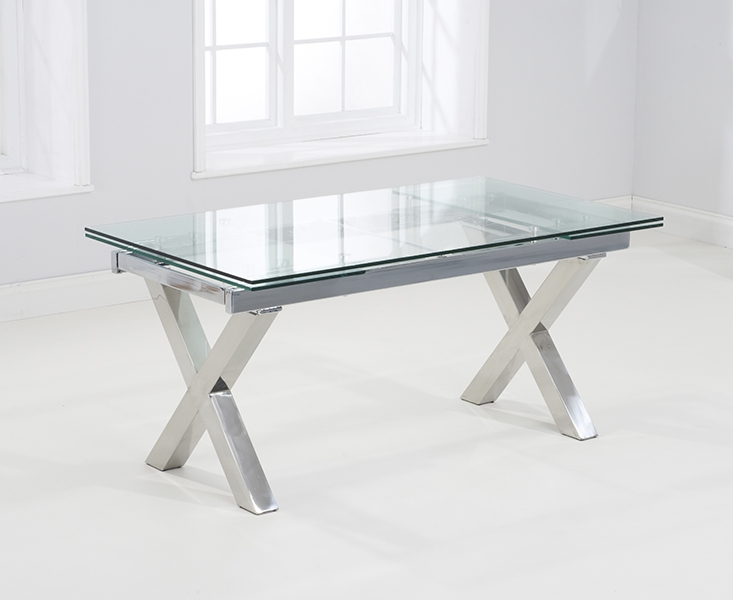 Mark Harris Cilento Extending Dining Table - Glass and Chrome
