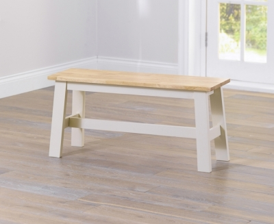 Clearance - Mark Harris Chichester Oak and Cream Dining Bench - New - FSS9283